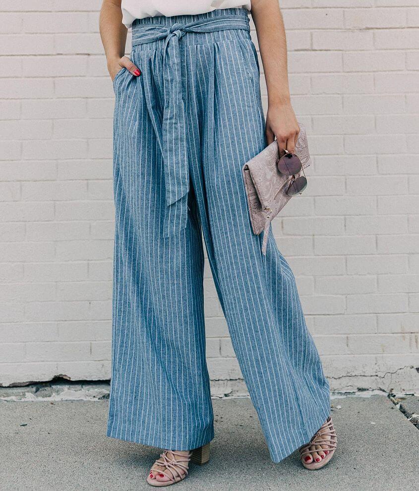 Sneak Peek Striped Wide Leg Paperbag Pant front view
