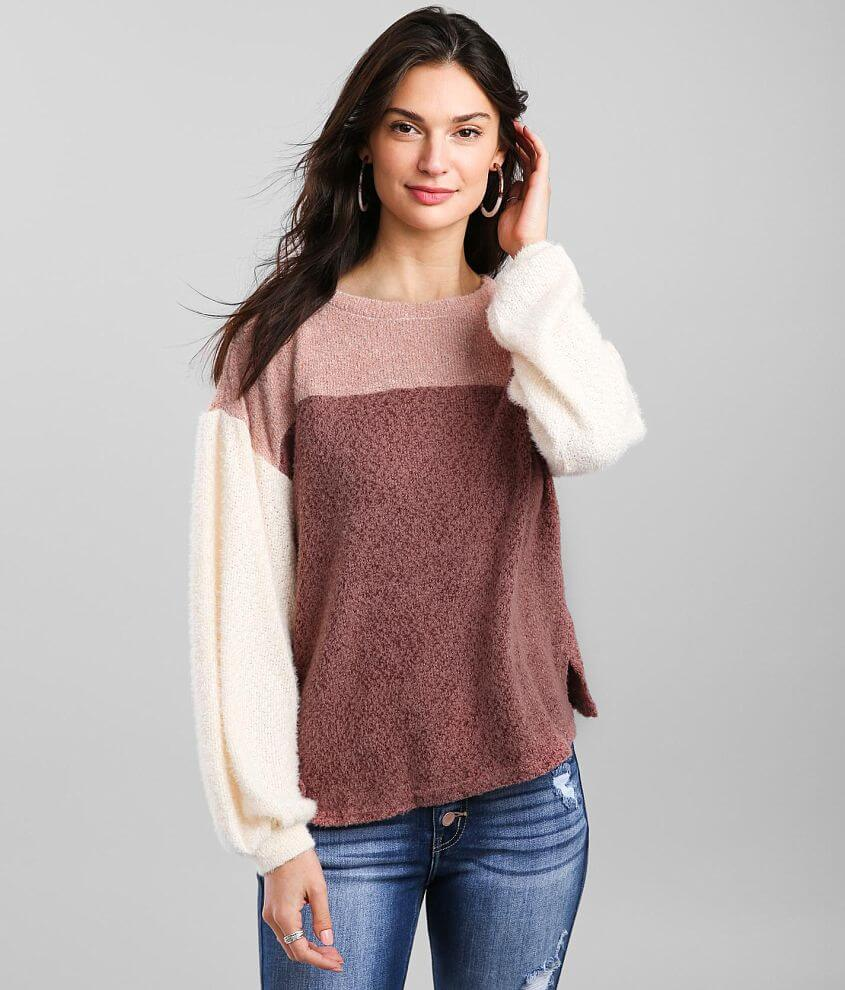 Blu Pepper Color Block Brushed Knit Pullover front view