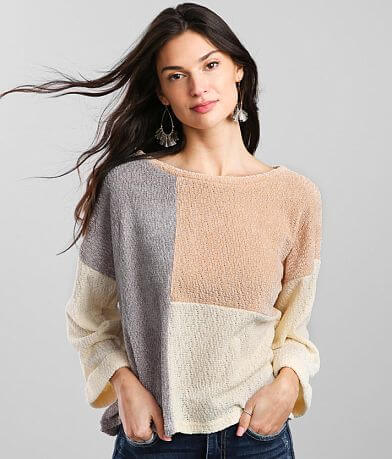 Blu Pepper Color Block Chenille Pullover