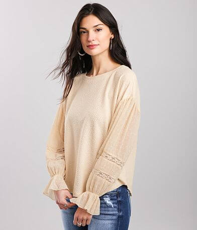 Blu Pepper Textured Crepe Knit Top