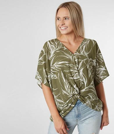 Blu Pepper Tropical Print Surplice Top