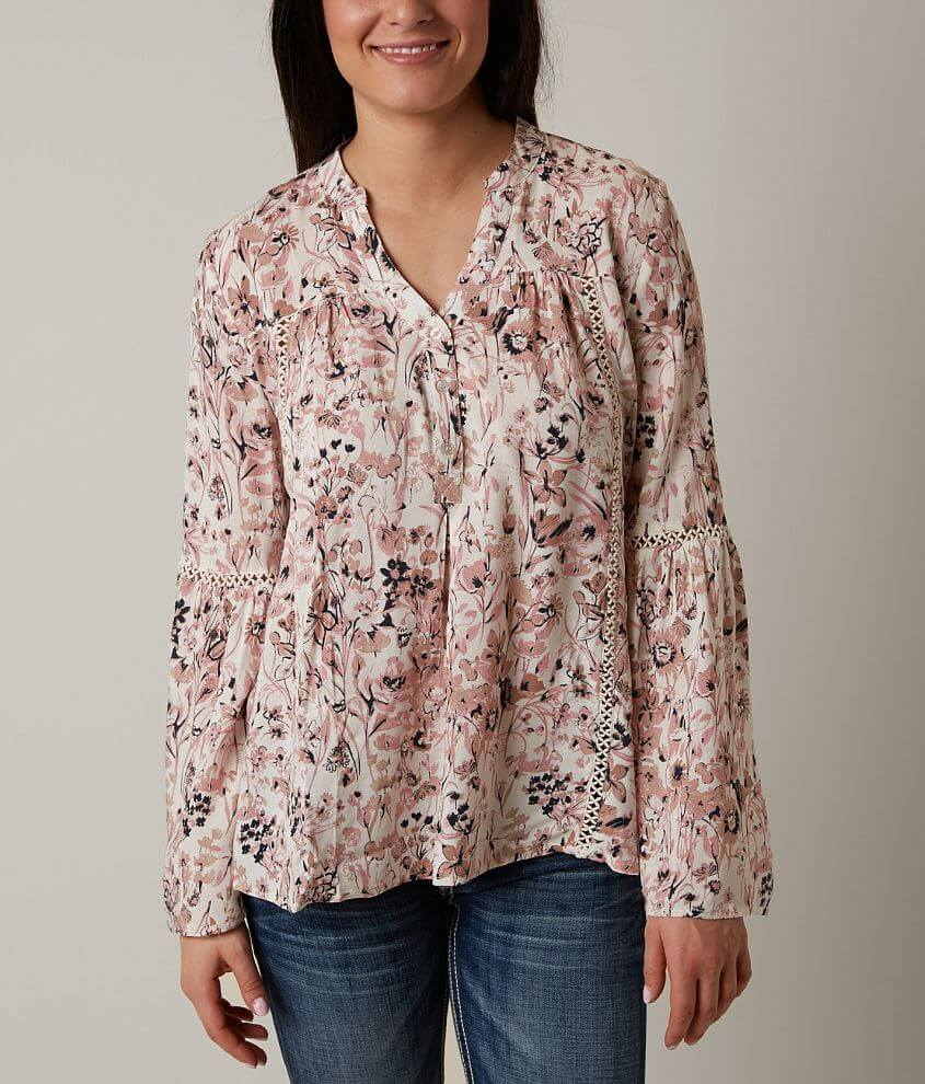 Blu Pepper Printed Henley Top front view