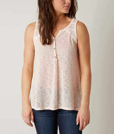 Blu Pepper Open Weave Henley Tank Top