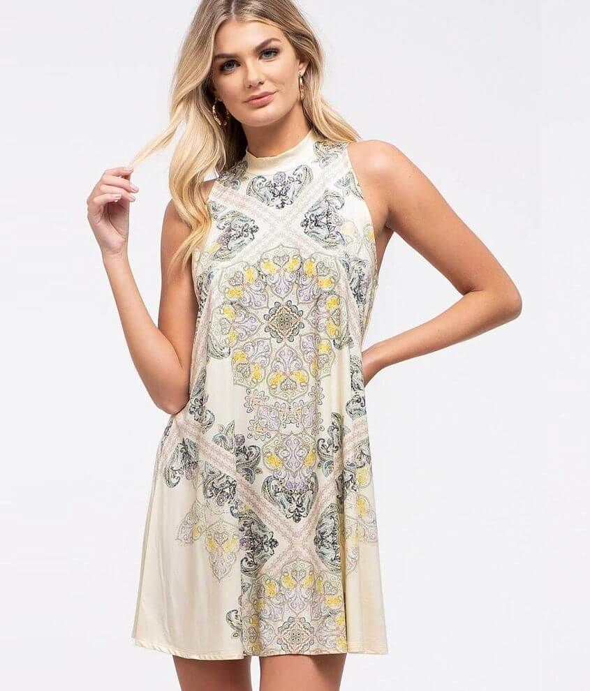 Blu Pepper Paisley Tunic Tank Top front view