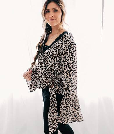 Blu Pepper Leopard Wrap Top