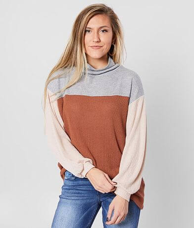 Blu Pepper Color Block Turtleneck Top