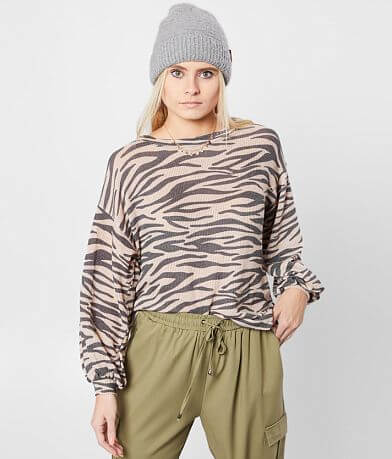 Blu Pepper Zebra Print Top