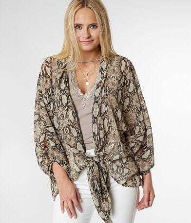 Blu Pepper Snakeskin Chiffon Kimono