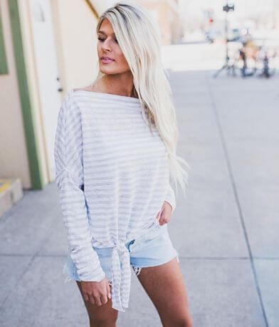 Blu Pepper Striped Off The Shoulder Top