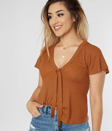 Blu Pepper Front Tie V-Neck Top
