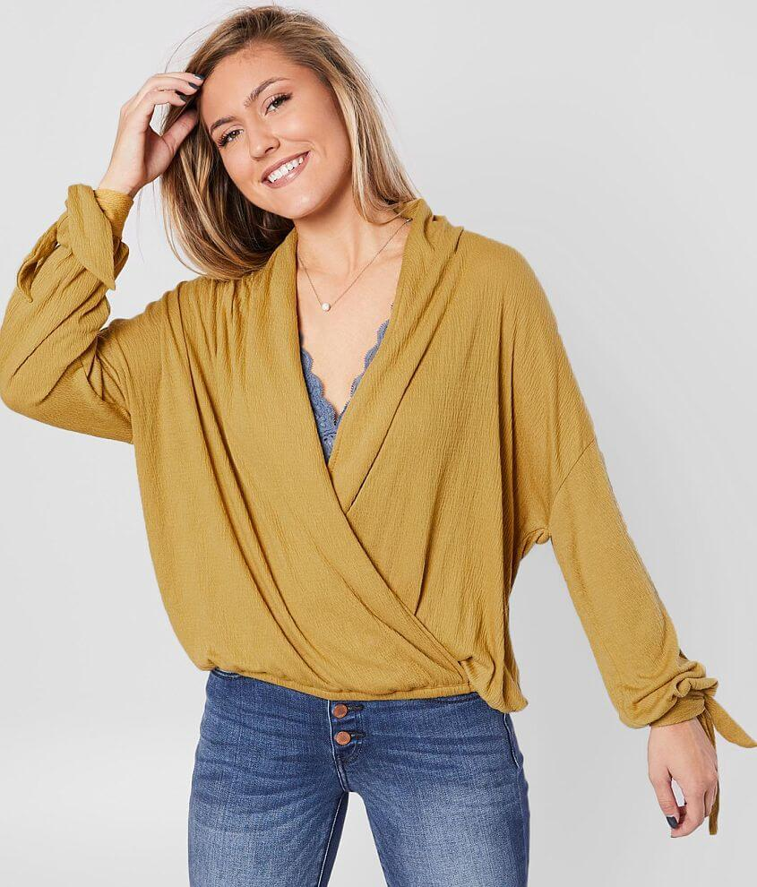 Blu Pepper Textured Knit Surplice Top front view