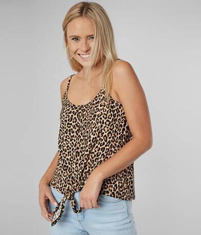 Blu Pepper Leopard Henley Tank Top