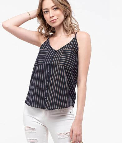E&M Woven Striped Tank Top