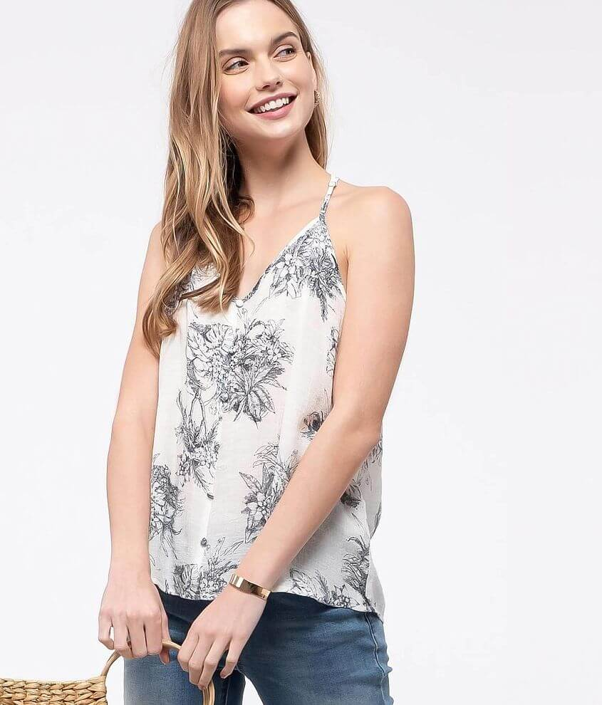 E&M Woven Floral Woven Tank Top front view