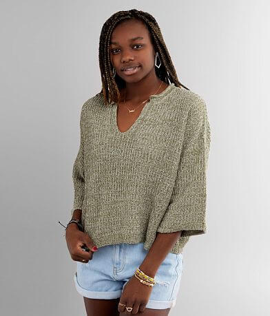 BKE Cable Knit Pullover Cropped Sweater