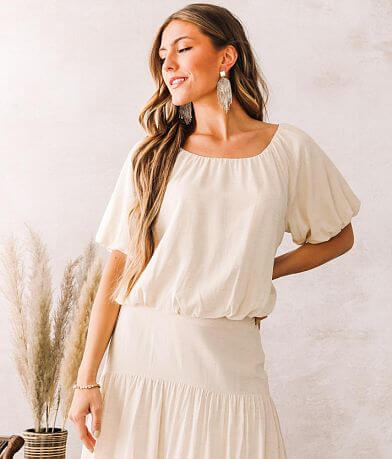 Moon River Heathered Puff Sleeve Top