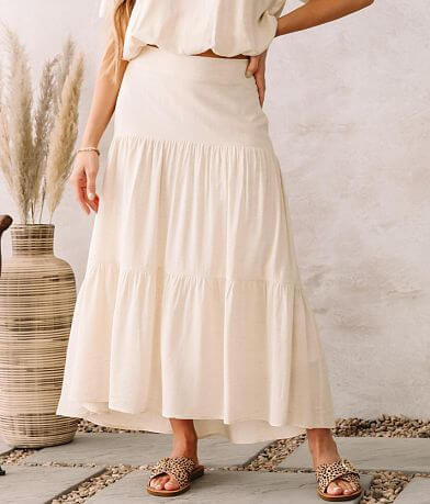 Moon River High Low Tiered Maxi Skirt