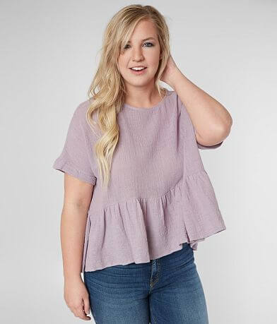 Blu Pepper Textured Ruffle Top - Plus Size Only