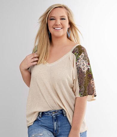 perch Pieced Rib Knit Top - Plus Size Only