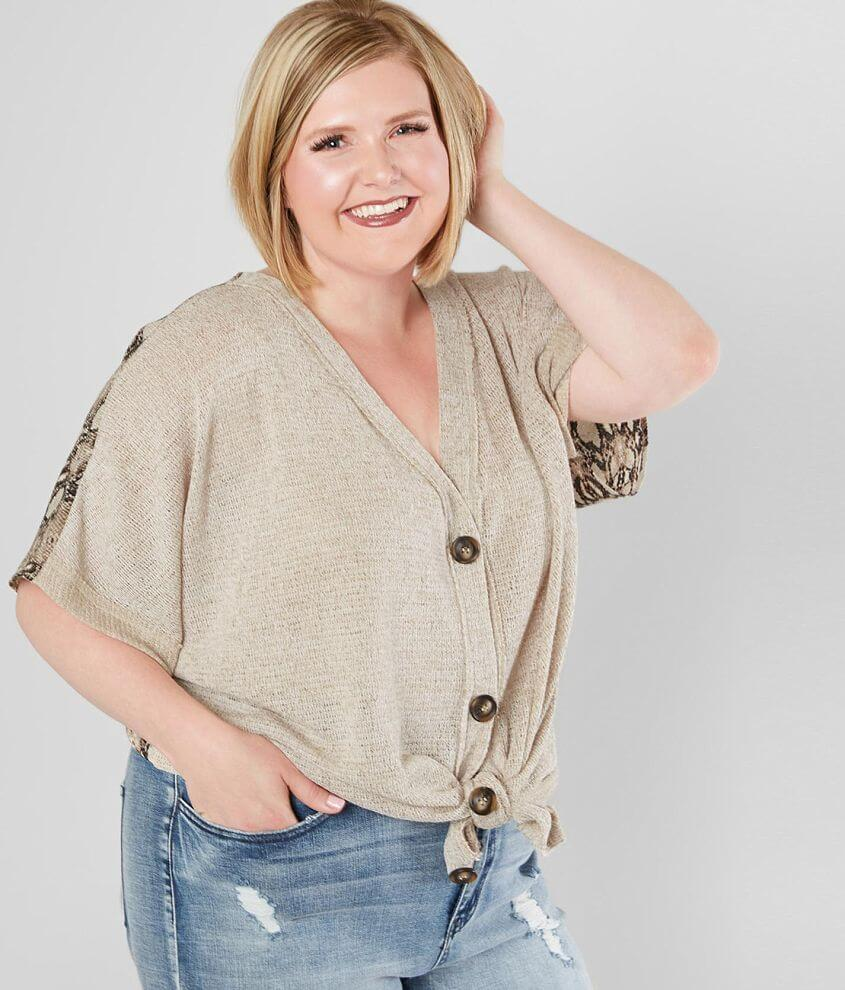 Blu Pepper Button Down Top - Plus Size Only front view