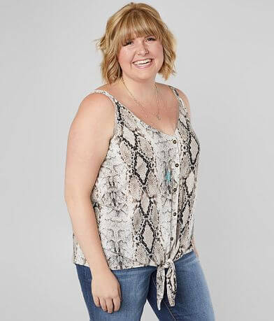 Blu Pepper Snakeskin Tank Top - Plus Size Only