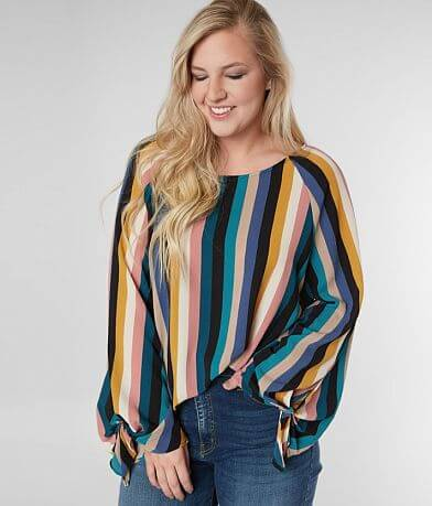 Blu Pepper Striped Gauze Top - Plus Size Only