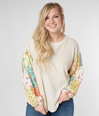 perch Waffle Knit Top - Plus Size Only
