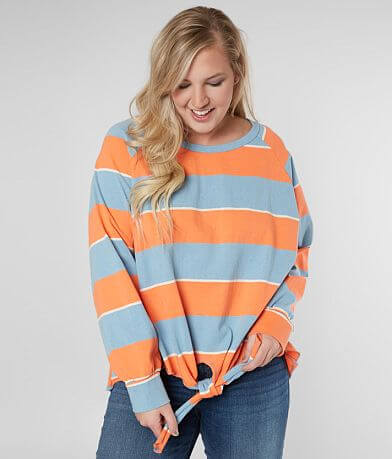 98069ec0a4de08 perch Striped Front Tie Top - Plus Size Only