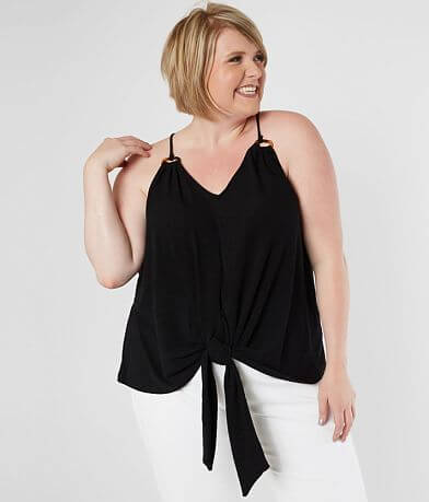 Blu Pepper Front Tie Tank Top - Plus Size Only