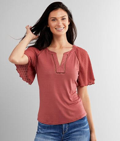 Mine Split Neck Knit Top