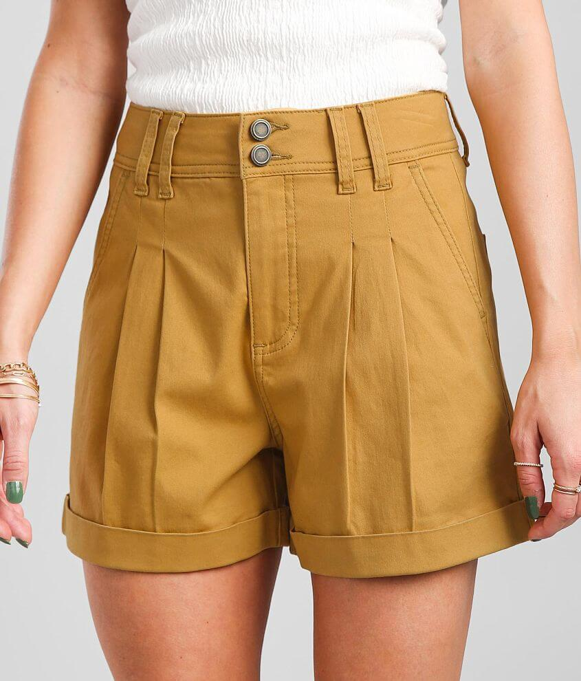 BKE High Rise Pleated Stretch Cuffed Short front view