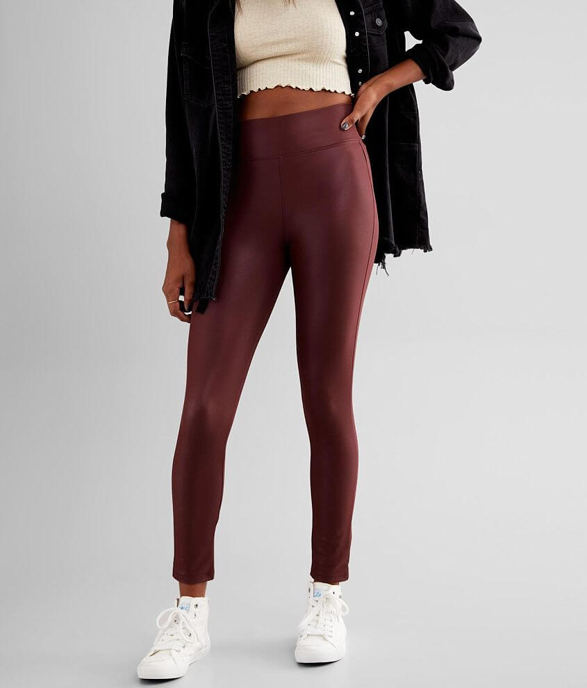 BKE High Rise Faux Leather Stretch Legging front view