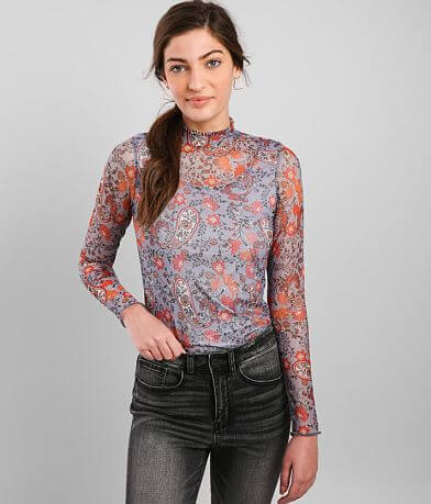 Willow & Root Paisley Floral Mesh Top