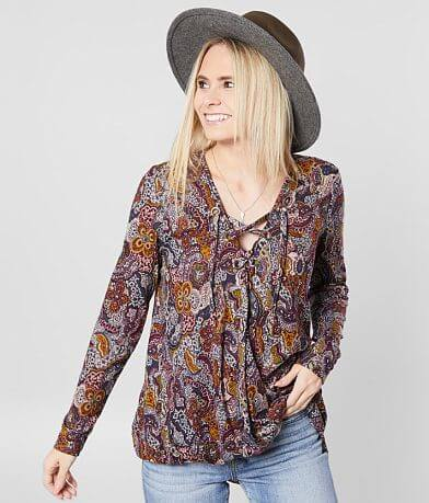 Daytrip Paisley Lace-Up Surplice Top