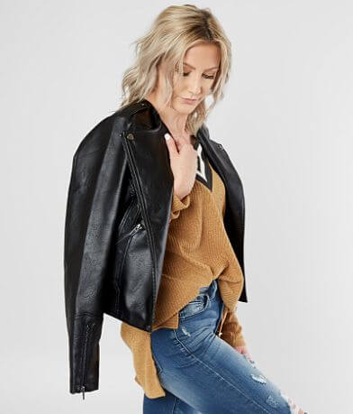 BKE Faux Leather Moto Jacket