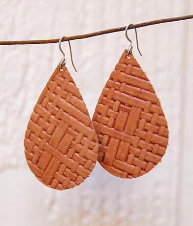 Briar Rose Leather Woven Teardrop Earring