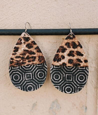 Briar Rose Leopard Leather Earring