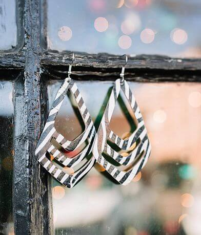 Briar Rose Zebra Cut-Out Leather Earring