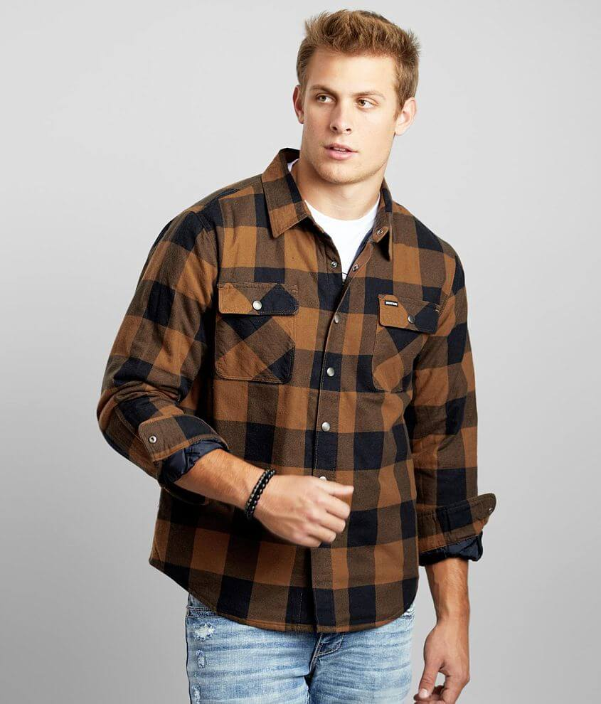 Brixton Bowery Checkered Flannel Shacket front view