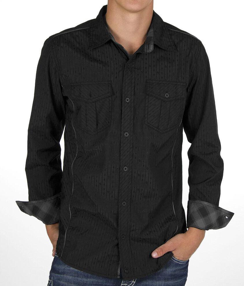 Buckle Black Striped Shirt front view