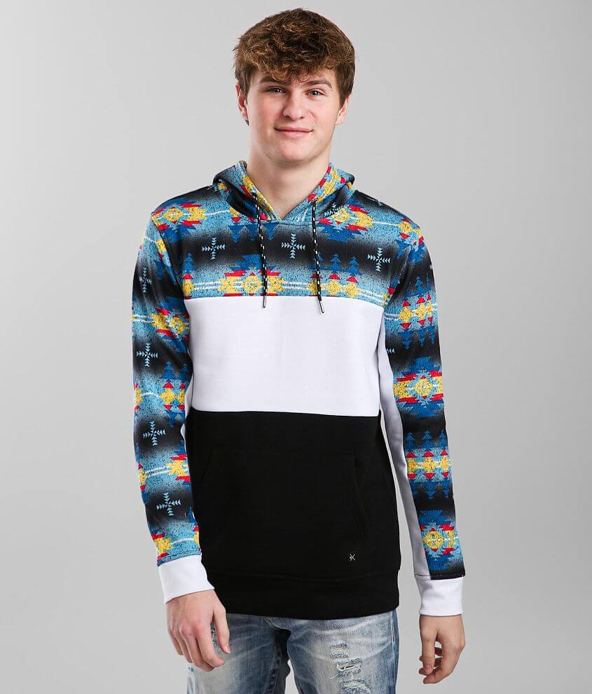 Departwest Staggered Ombre Hooded Sweatshirt front view