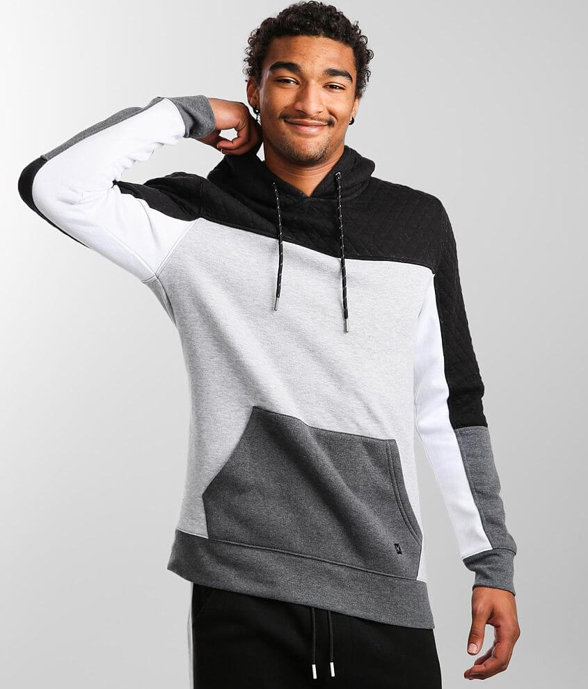 Departwest Quilted Color Block Hooded Sweatshirt front view