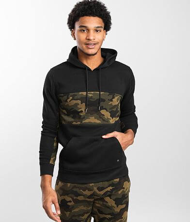 Departwest Color Block Camo Hooded Sweatshirt