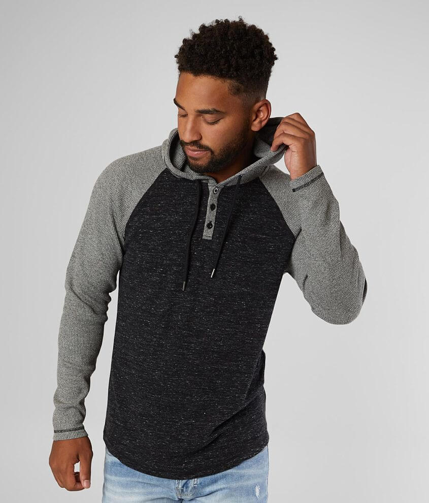 BKE Lightweight Thermal Henley Hoodie front view