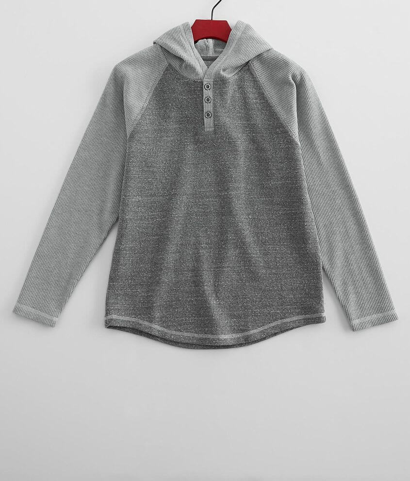 Boys - BKE Lightweight Thermal Henley Hoodie front view