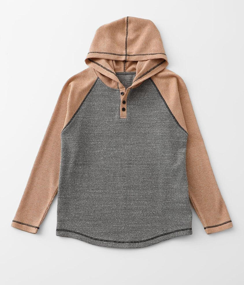 Boys - BKE Color Block Thermal Henley Hoodie front view