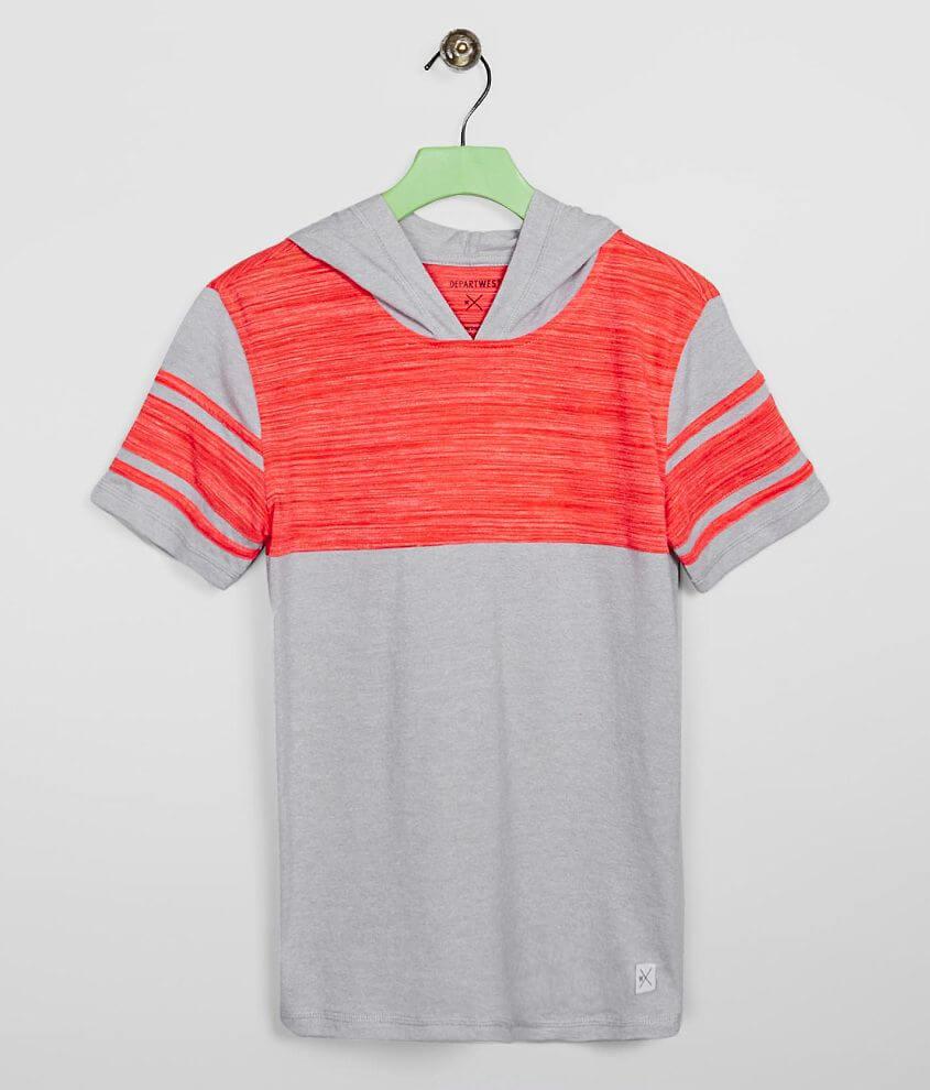 Boys - Departwest Applique Stripe Hooded T-Shirt front view