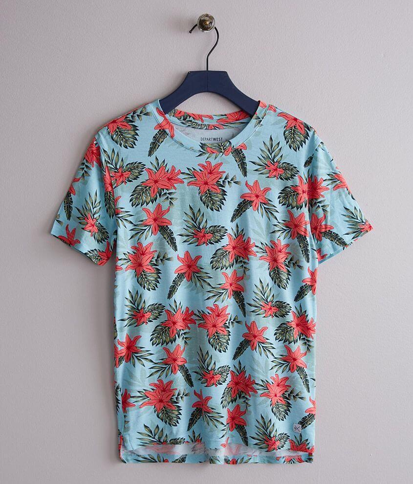 Printed drop tail hem t-shirt
