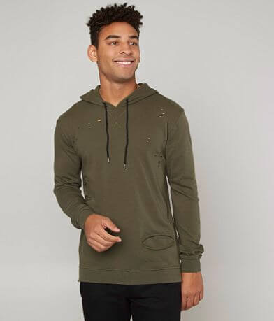 Buckle Black Ripped Hooded Sweatshirt