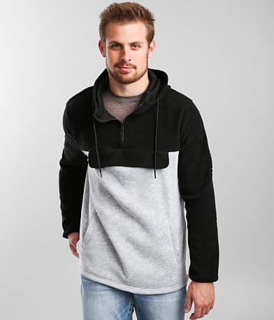 Veece Quarter Zip Pieced Fleece Hooded Sweatshirt